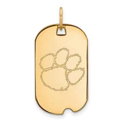 Picture of Clemson University Tigers Sterling Silver Gold Plated Small Dog Tag