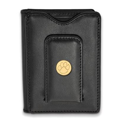 Picture of Clemson University Tigers Sterling Silver Gold Plated Black Leather Wallet