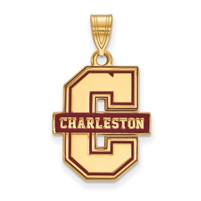 Picture of College of Charleston Cougars Sterling Silver Gold Plated Enameled Extra Large Pendant