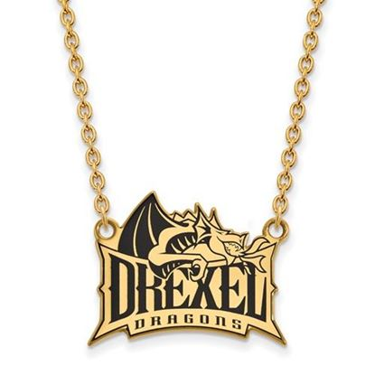 Picture of Drexel University Dragons Sterling Silver Gold Plated Enameled Large Necklace