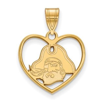 Picture of East Carolina University Pirates Sterling Silver Gold Plated Heart Pendant