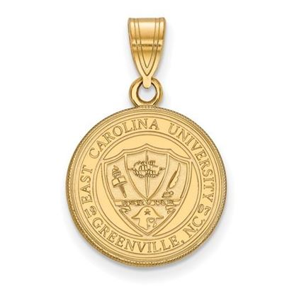Picture of East Carolina University Pirates Sterling Silver Gold Plated Medium Crest Pendant