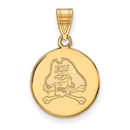 Picture of East Carolina University Pirates Sterling Silver Gold Plated Medium Disc Pendant