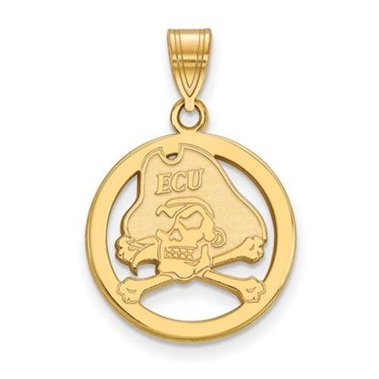 Picture of East Carolina University Pirates Sterling Silver Gold Plated Small Circle Pendant