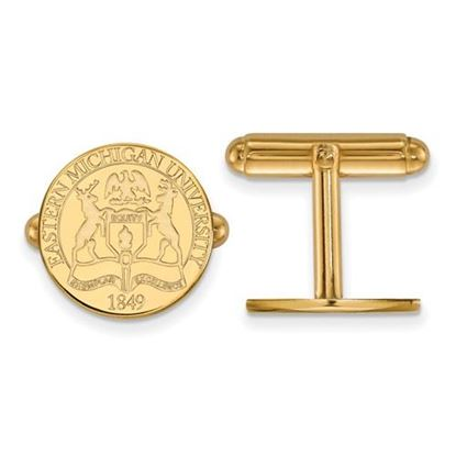 Picture of Eastern Michigan University Eagles Sterling Silver Gold Plated Crest Cuff Links