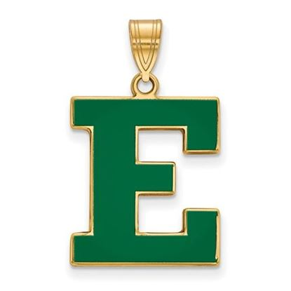 Picture of Eastern Michigan University Eagles Sterling Silver Gold Plated Enameled Large Pendant