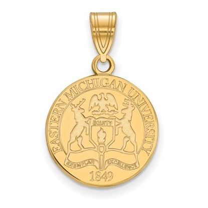 Picture of Eastern Michigan University Eagles Sterling Silver Gold Plated Medium Crest Pendant