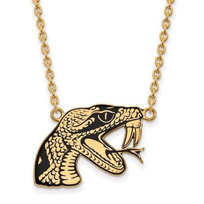 Picture of Florida A&M University Rattlers Sterling Silver Gold Plated Large Enameled Pend Necklace