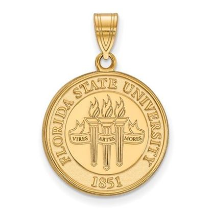 Picture of Florida State University Seminoles Sterling Silver Gold Plated Large Crest Pendant