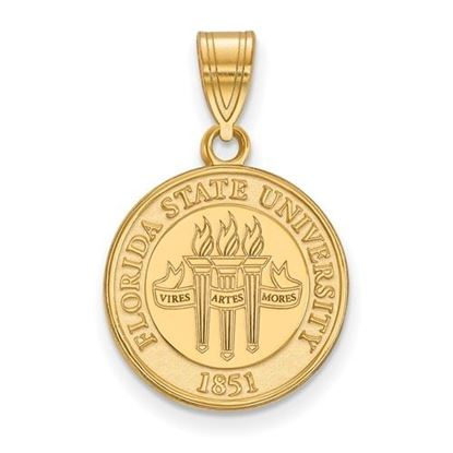 Picture of Florida State University Seminoles Sterling Silver Gold Plated Medium Crest Pendant