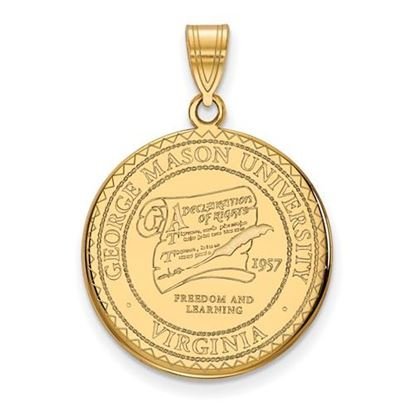Picture of George Mason University Patriots Sterling Silver Gold Plated Large Crest Pendant