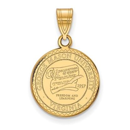 Picture of George Mason University Patriots Sterling Silver Gold Plated Medium Crest Pendant