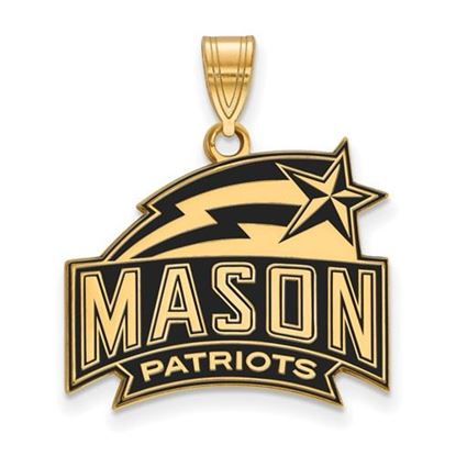 Picture of George Mason University Patriots Sterling Silver Gold Plated Medium Enameled Pendant