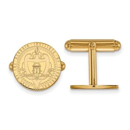 Picture of Georgia Tech Yellow Jackets Sterling Silver Gold Plated Crest Cuff Links