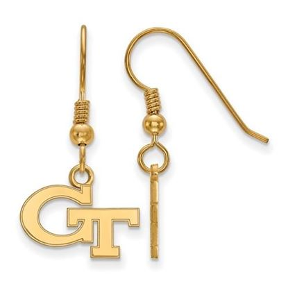Picture of Georgia Tech Yellow Jackets Sterling Silver Gold Plated Extra Small Dangle Earrings