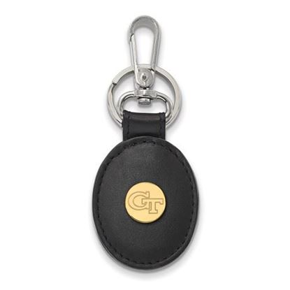 Picture of Georgia Tech Yellow Jackets Sterling Silver Gold Plated Black Leather Key Chain
