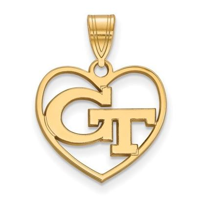 Picture of Georgia Tech Yellow Jackets Sterling Silver Gold Plated Heart Pendant
