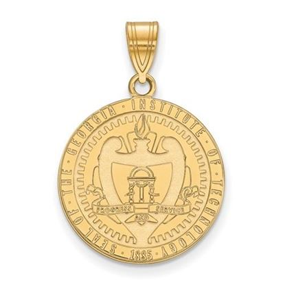 Picture of Georgia Tech Yellow Jackets Sterling Silver Gold Plated Large Crest Pendant