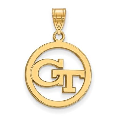 Picture of Georgia Tech Yellow Jackets Sterling Silver Gold Plated Small Circle Pendant