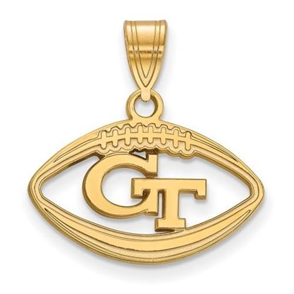 Picture of Georgia Tech Yellow Jackets Sterling Silver Gold Plated Football Pendant
