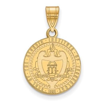 Picture of Georgia Tech Yellow Jackets Sterling Silver Gold Plated Medium Crest Pendant