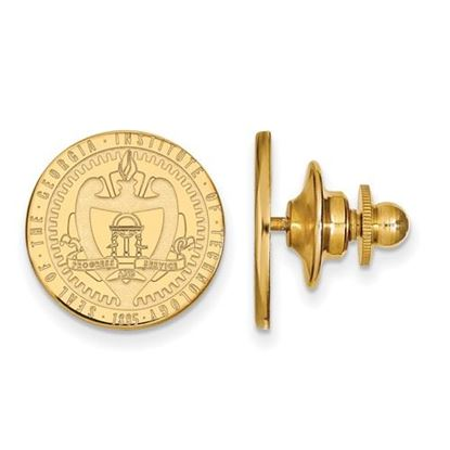 Picture of Georgia Tech Yellow Jackets Sterling Silver Gold Plated Crest Lapel Pin