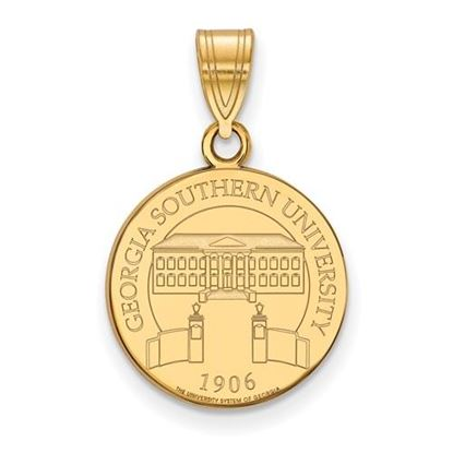 Picture of Georgia Southern University Eagles Sterling Silver Gold Plated Med Crest Pendant