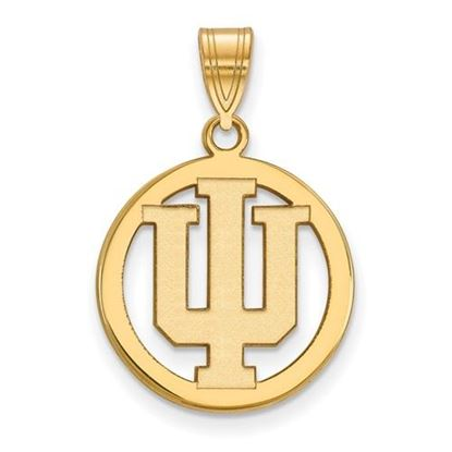Picture of Indiana University Hoosiers Sterling Silver Gold Plated Small Circle Pendant