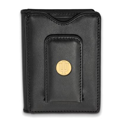 Picture of Indiana University Hoosiers Sterling Silver Gold Plated Black Leather Wallet