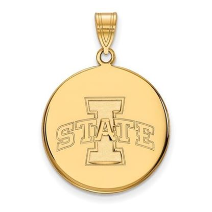 Picture of Iowa State University Cyclones Sterling Silver Gold Plated Large Disc Pendant