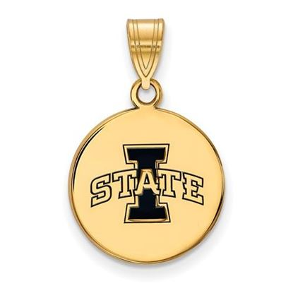 Picture of Iowa State University Cyclones Sterling Silver Gold Plated Med Enameled Disc Pendant