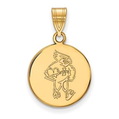 Picture of Iowa State University Cyclones Sterling Silver Gold Plated Medium Disc Pendant