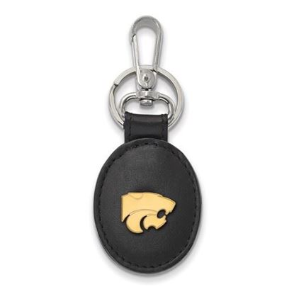 Picture of Kansas State University Wildcats Sterling Silver Gold Plated Black Leather Key Chain