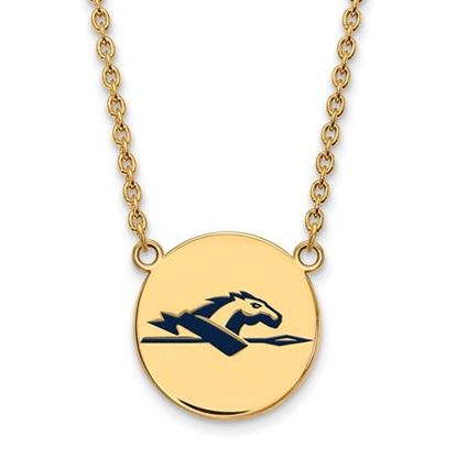 Picture of Longwood University Lancers Sterling Silver Gold Plated Large Enameled Disc Necklace