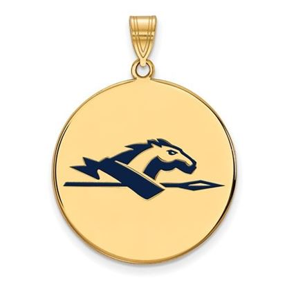 Picture of Longwood University Lancers Sterling Silver Gold Plated Extra Large Enameled Disc Pendant