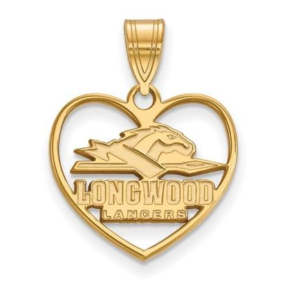 Picture of Longwood University Lancers Sterling Silver Gold Plated Heart Pendant