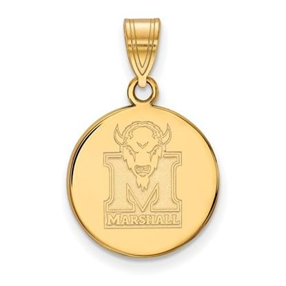 Picture of Marshall University Thundering Herd Sterling Silver Gold Plated Medium Disc Pendant