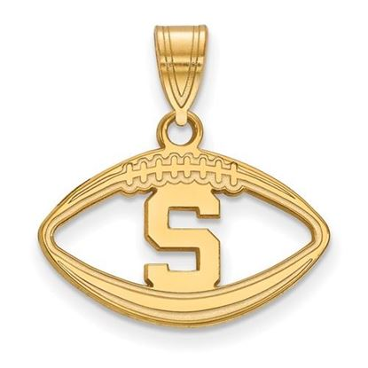 Picture of Michigan State University Spartans Sterling Silver Gold Plated Football Pendant
