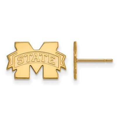 Picture of Mississippi State University Bulldogs Sterling Silver Gold Plated Extra Small Post Earrings