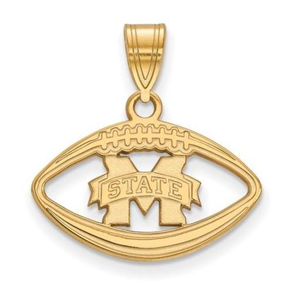 Picture of Mississippi State University Bulldogs Sterling Silver Gold Plated Football Pendant