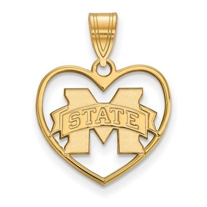 Picture of Mississippi State University Bulldogs Sterling Silver Gold Plated Heart Pendant