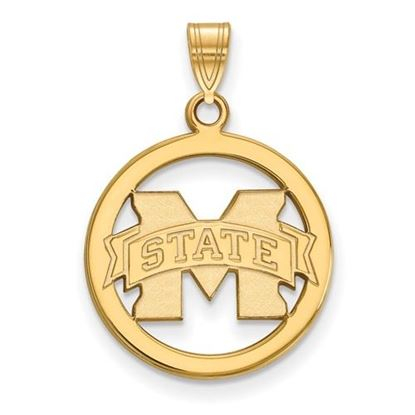 Picture of Mississippi State University Bulldogs Sterling Silver Gold Plated Small Circle Pendant