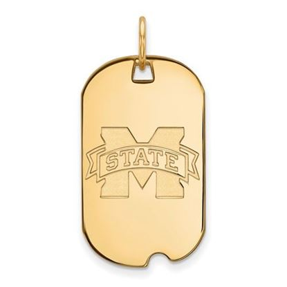 Picture of Mississippi State University Bulldogs Sterling Silver Gold Plated Small Dog Tag