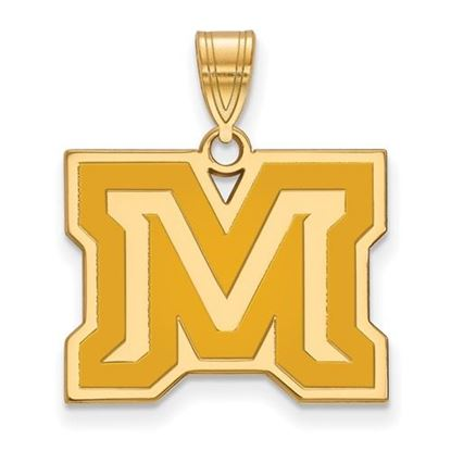 Picture of Montana State University Bobcats Sterling Silver Gold Plated Medium Enameled Pendant