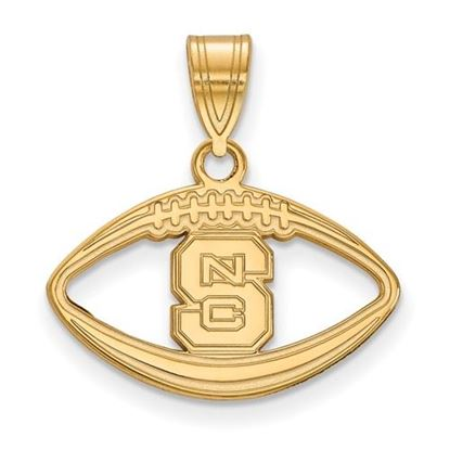 Picture of North Carolina State University Woldpack Sterling Silver Gold Plated Football Pendant