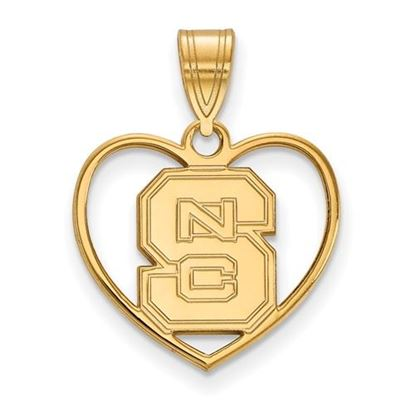 Picture of North Carolina State University Woldpack Sterling Silver Gold Plated Heart Pendant