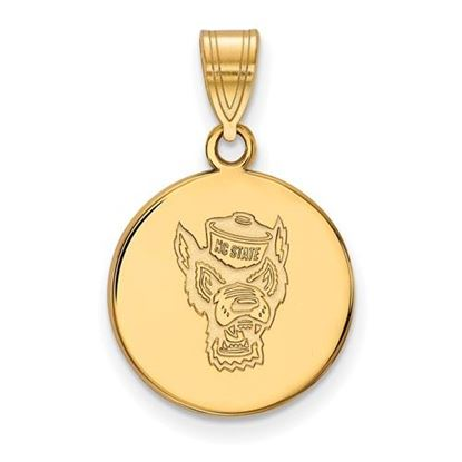 Picture of North Carolina State University Woldpack Sterling Silver Gold Plated Medium Disc Pendant