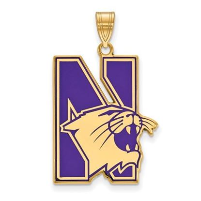 Picture of Northwestern University Wildcats Sterling Silver Gold Plated Extra Large Enameled Pendant