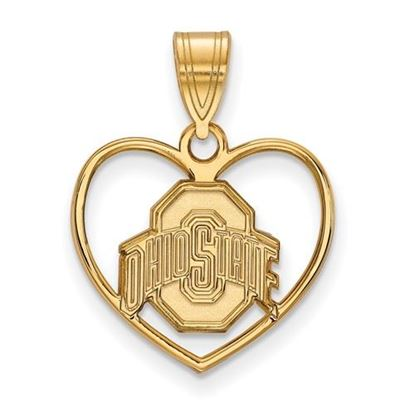 Picture of Ohio State University Buckeyes Sterling Silver Gold Plated Heart Pendant
