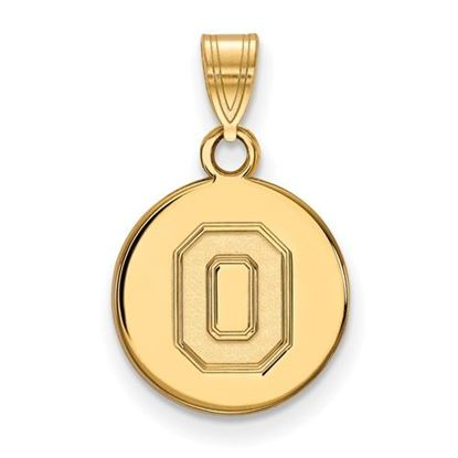 Picture of Ohio State University Buckeyes Sterling Silver Gold Plated Small Disc Pendant
